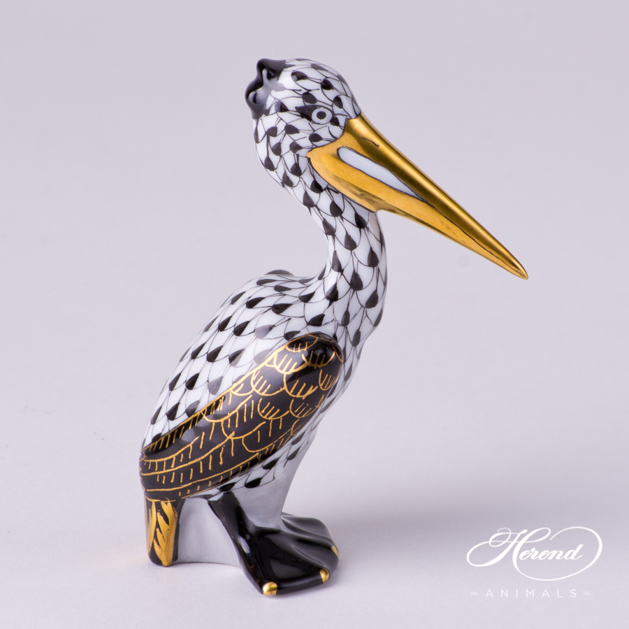 "Pelican 5170-0-00 VHNMM Black Fish scale decor. Herend fine china animal figurine. The wings of the Pelican is black and decorated with gold. Hand painted. Height: 8.4 cm (3.25""H)"