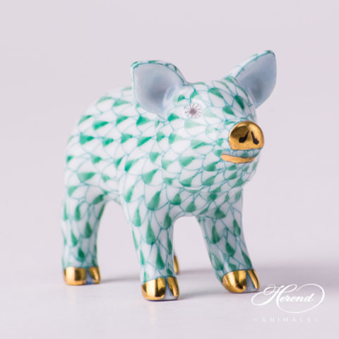 "Small Pig 5352-0-00 VHV Green Fish scale decor. Herend fine china animal figurine. Hand painted. Length: 5.0 cm (2""H)"