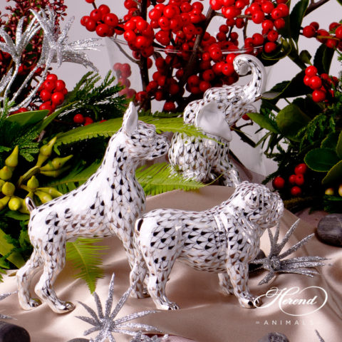Herend animal figurines - PTVH Platinum Fish scale decor. Herend Fine china and hand painted.