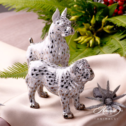 Boxer Dog 15565-0-00 PTVH and Bulldog 15839-0-00 PTVH Platinum Fish scale decor. Herend Fine china and hand painted.
