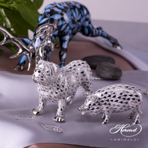 Bulldog 15839-0-00 PTVH and Pig 15301-0-00 PTVH Platinum Fish scale decor. Herend Fine china and hand painted.