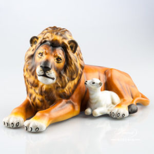 Lion with Lamb 15670-0-00 MCD Brown - Herend Animal Figurine