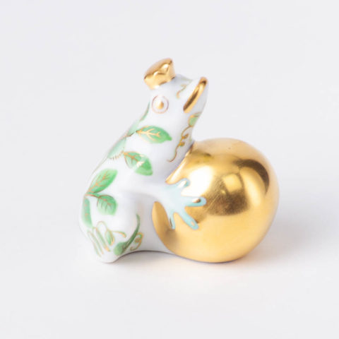 "Frog Prince 15369 ZOVA Green ZOO design. Herend fine china animal figurine. Height 3.8 cm (1.5""H)."