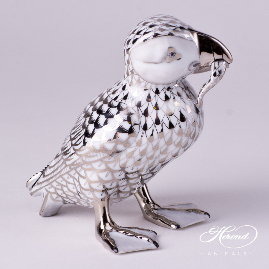 "Puffin 15480-0-00 PTVH Platinum Fish scale decor. Herend porcelain animal figurine. Hand painted. Height 12.0 cm (4.75""H)"