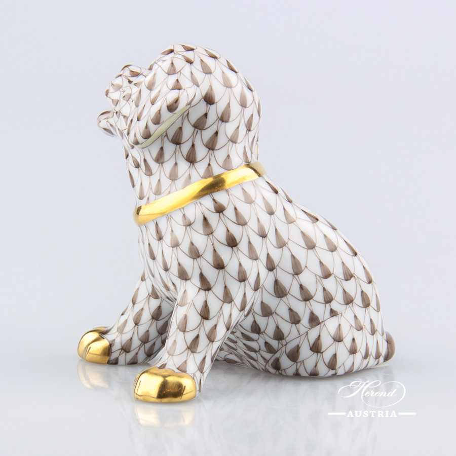 "Dog - Puppy 15872-0-00 VHBR1 Brown Fish Scale decor. Herend Fine china animal figurine. Hand painted. Height: 7.0 cm (2.75""H)"