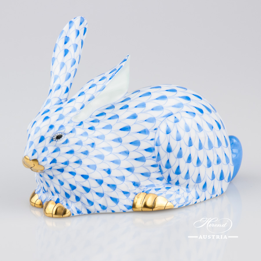 Rabbit 15335-0-00 VHB Blue - Herend Animal Figurine