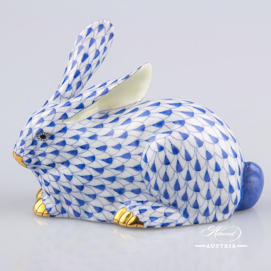 Rabbit 15335-0-00 VHFB Dark Blue - Herend Animal Figurines