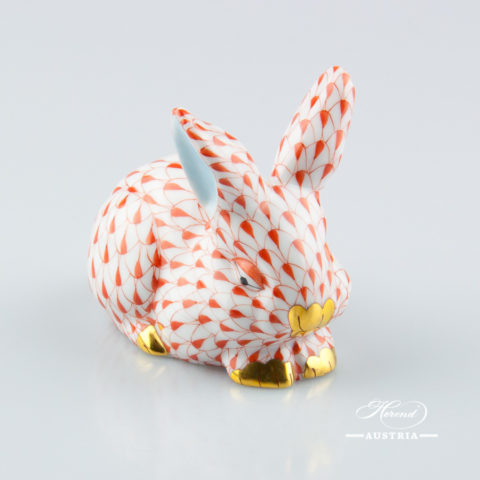 "Jumping Fox 15590-0-00 VHR Red Fish scale decor. Herend fine china animal figurine. Hand painted. Height: 9.5 cm (3.75""H)"