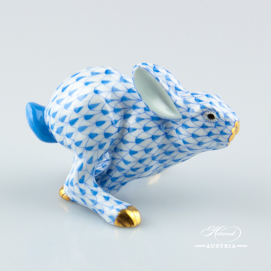 """Rabbit 15929-0-00 VHBR1 Brown fish scale decor. Herend fine china animal figurine. Hand painted. Height: 12.5 cm (5""""H)"""