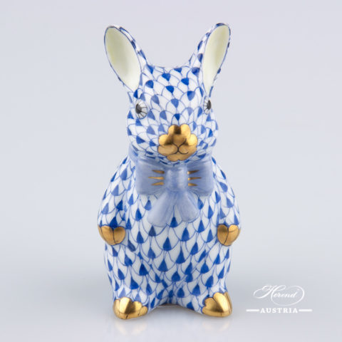 Rabbit with Bowtie 15241-0-00 VHFB Dark Blue - Herend Animal Figurine