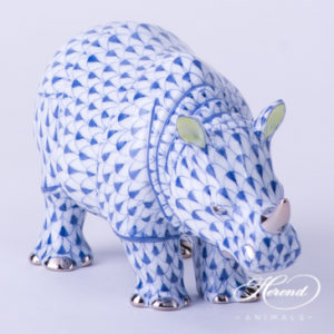 "Rhino 15333-0-00 VHFB-PT Navy Blue Fish scale decor. Herend Fine china animal figurine. Hand painted. Length: 13.0 cm (5""L)"