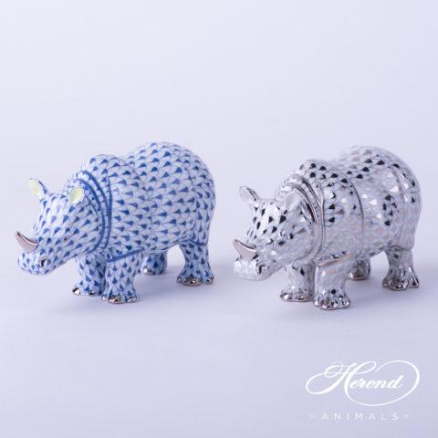 "Rhino 15333-0-00 VHFB-PT Navy Blue Fish scale decor. Herend Fine china animal figurine. Hand painted. Length: 13.0 cm (5""L)"