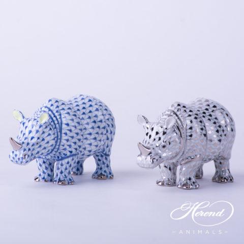 "Rhino 15333-0-00 PTVH Platinum Fish scale decor. Herend Fine china animal figurine. Hand painted. Length: 13.0 cm (5""L)"