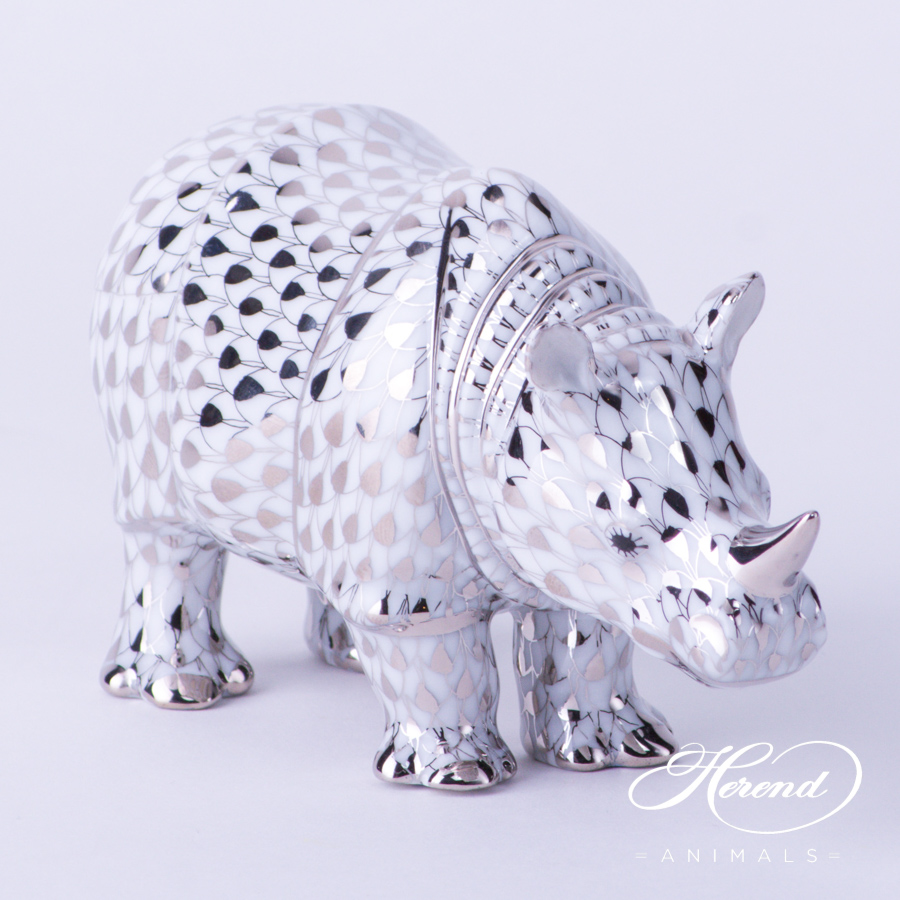 "Rhino 15333-0-00 PTVH Platinum Fish scale decor. Herend Fine china animal figurine. Hand painted. Length: 13.0 cm (5""L)"