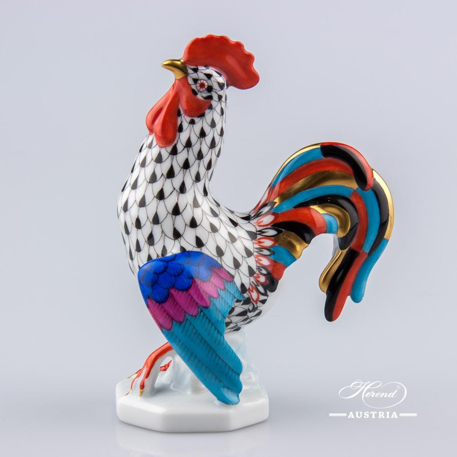 Rooster 15014-0-00 VHN Black - Herend Animal Figurine