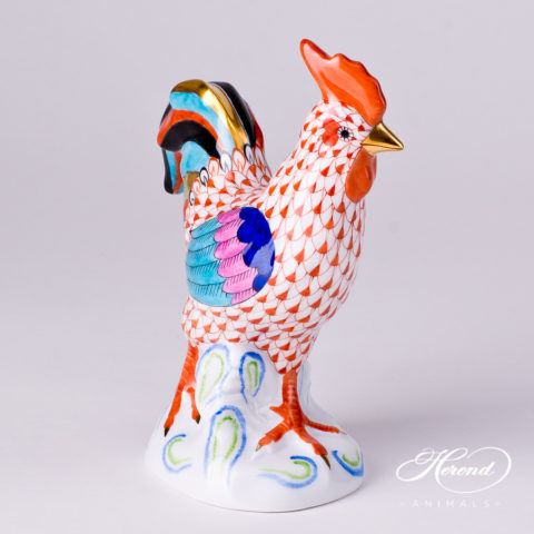 "Rooster 5032-0-00 VHR Red Fish scale decor. Herend fine china animal figurine. Hand painted. Height: 13.7 cm (5.5""H)"