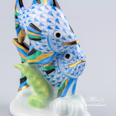 """Elephant 15266-0-00 PTVH Platinum Fish scale decor. Herend fine china hand painted. Herend animal figurine. Height: 8.5 cm (3.5""""H)"""