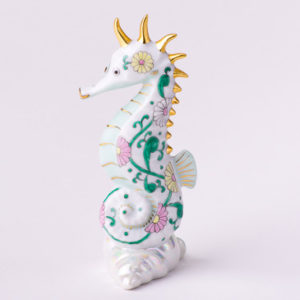 "Seahorse 15325-0-00 SBC Special Green Flower decor. Herend fine china animal figurine. Hand painted. Height 10.2 cm (4""H)"
