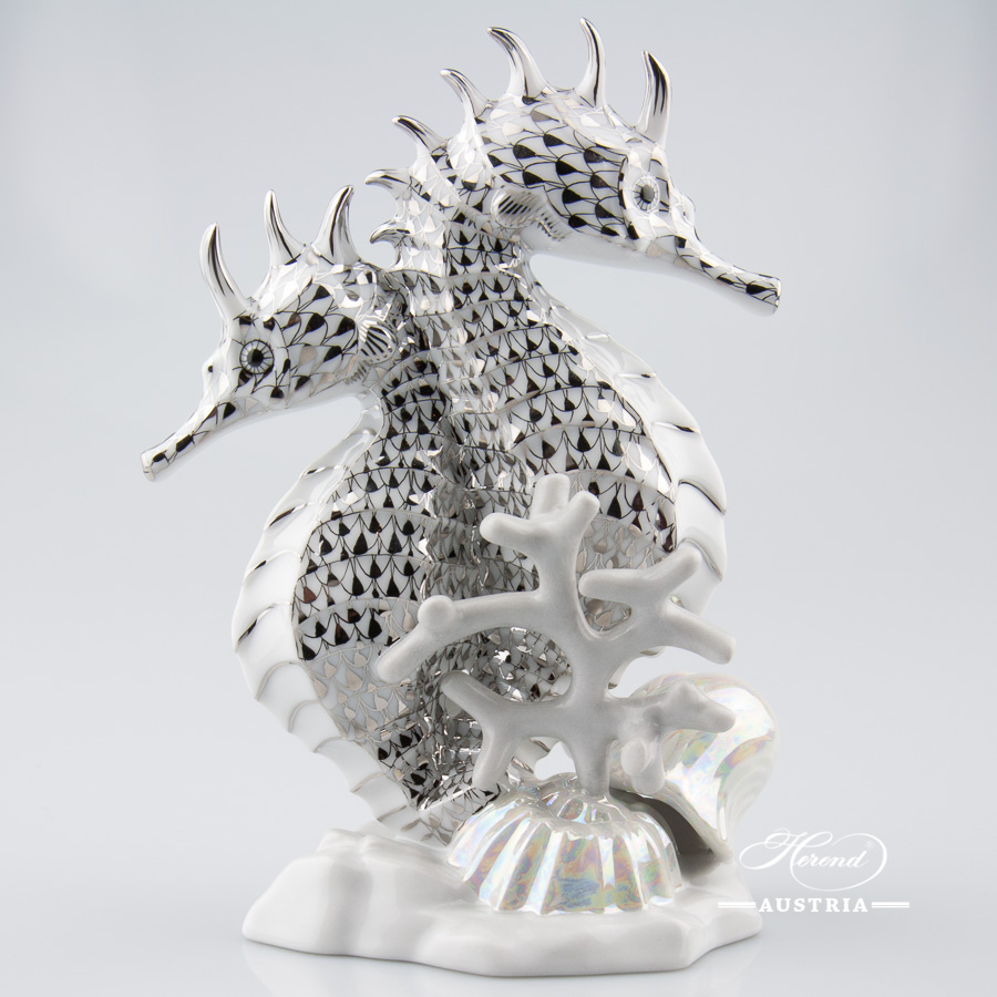 "Seahorse 5252-0-00 PTVH Platinum Fish scale decor. Herend fine china animal figurine. Hand painted. Height 17.2 cm (6.75""H)"