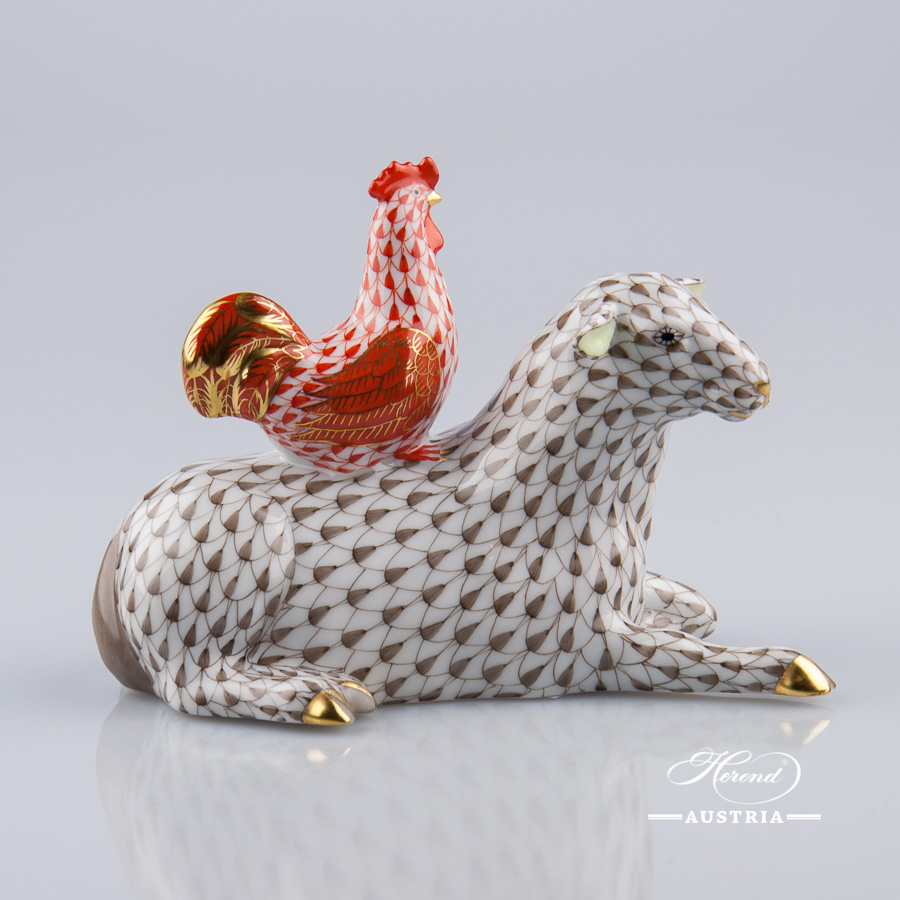 "Sheep w. Rooster 15084-0-00 VHBR1 Brown and VHM Red Fish scale designs. Herend fine china animal figurine. Hand painted. Height 9 cm (3.5""H)"