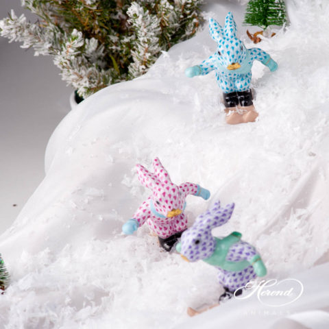 Bunny Skiing - Herend Fish scale design