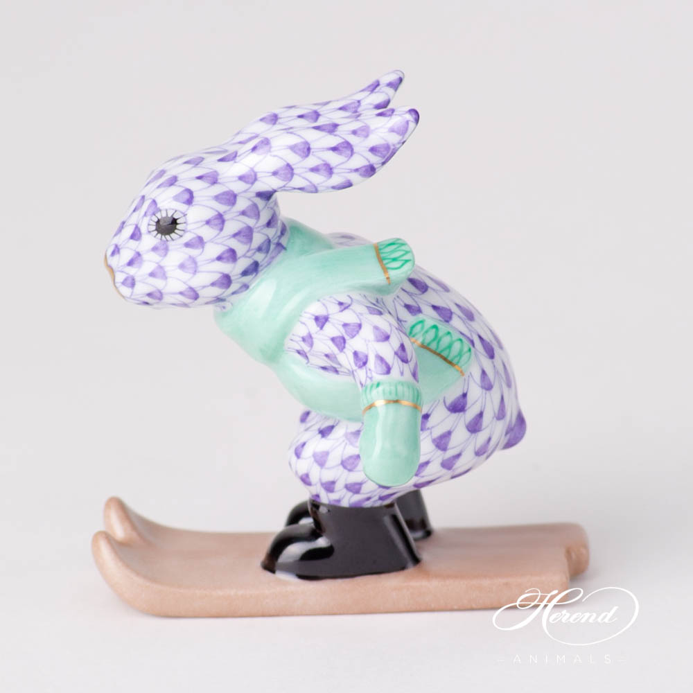 Skiing Bunny / Rabbit 5564-0-00 VHL Lilac Fish design. Herend fine china