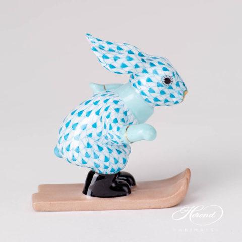 Skiing Bunny / Rabbit5564-0-00 VHTQ TurquoiseFish scale design.Herend fine china
