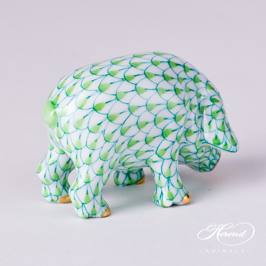 "Small Pig 5357-0-00 VHV2 Light Green Fish scale decor. Herend fine china animal figurine. Hand painted. Length: 6.0 cm (2.5""L)"