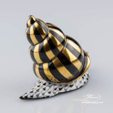 Snail 15375-0-00 VHNM Black - Herend Animal Figurine