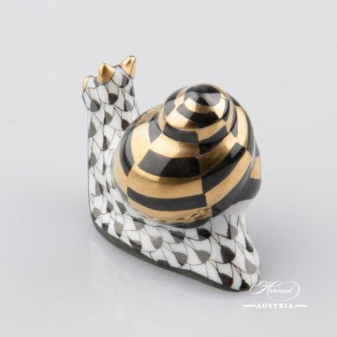 Snail 15518-0-00 VHNM Black - Herend Animal Figurine