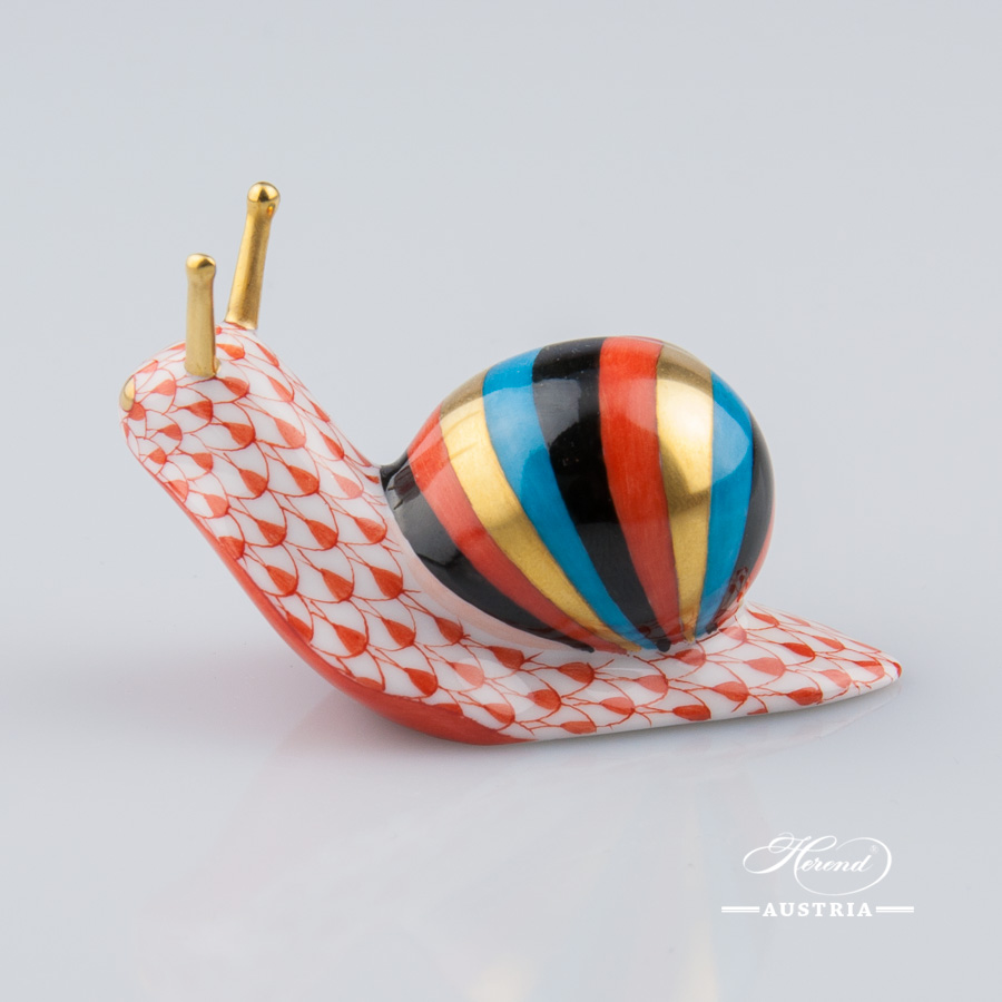 Snail 5360-0-00 VHR Red - Herend Animal Figurine