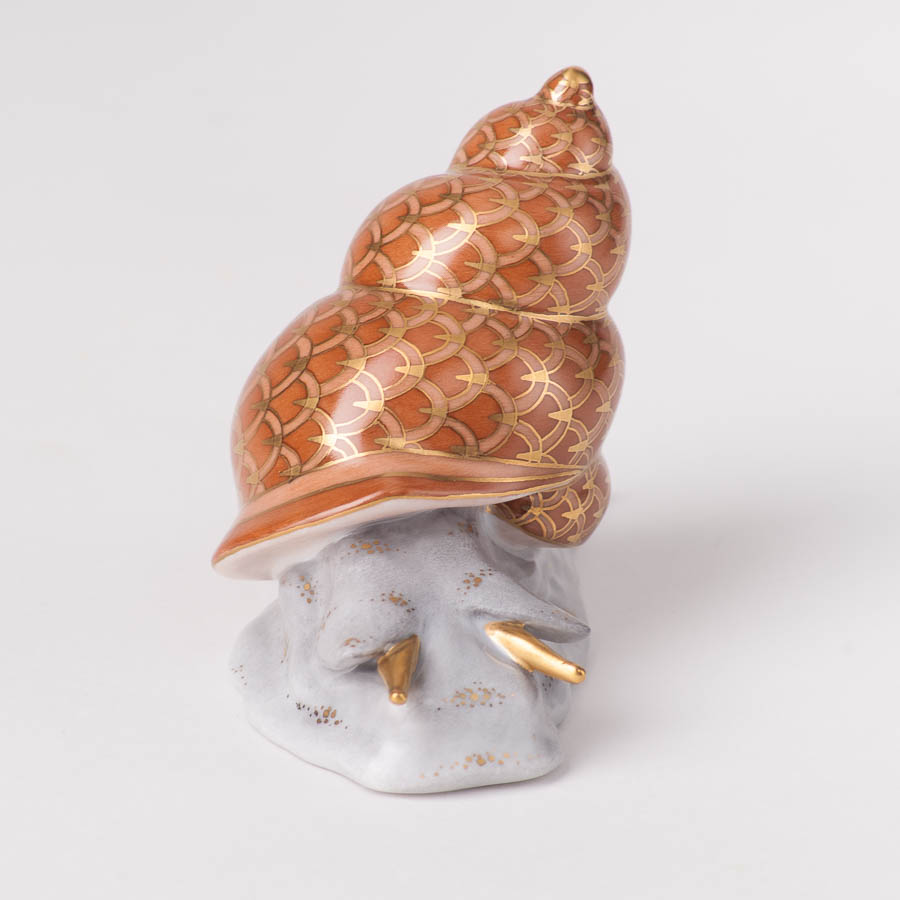 "Snail 15375-0-00 VHSP92 Special Orange Fish scale design. Herend fine china animal figurine. Handpainted. Length: 9.8 cm (4""L)."