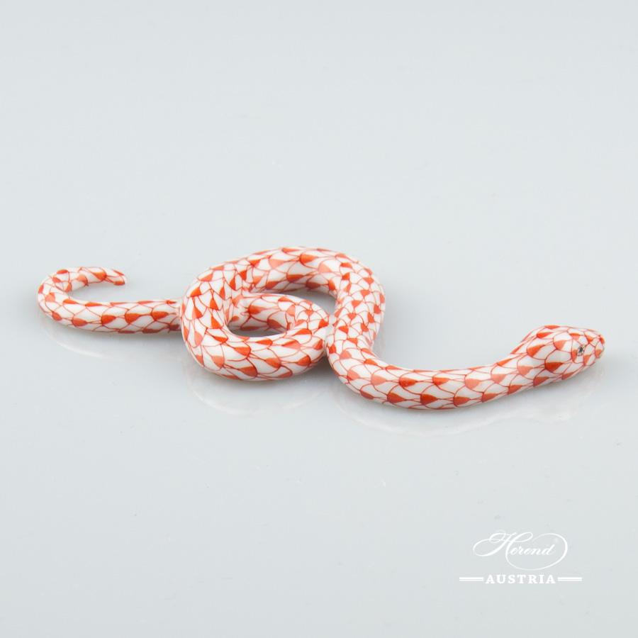 Snake 15090-0-00 VHR Red - Herend Animal Figurine