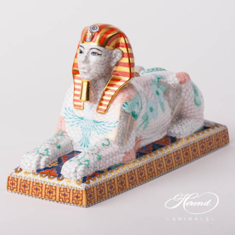 "Sphinx 5684-0-00 TAT Special multicolor decor. Herend fine china mythical animal figurine. Hand painted and Limited Edition. Length: 28.5 cm (11.25""L)"
