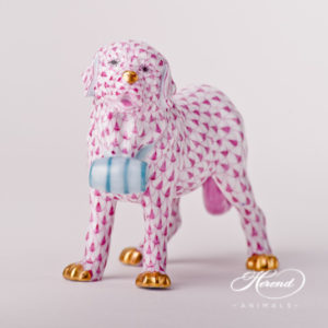 "Dog - St.Bernard 15871-0-00 VHP Purple design. Herend fine china animal figurine. Hand painted. Length 13 cm (5""L)."