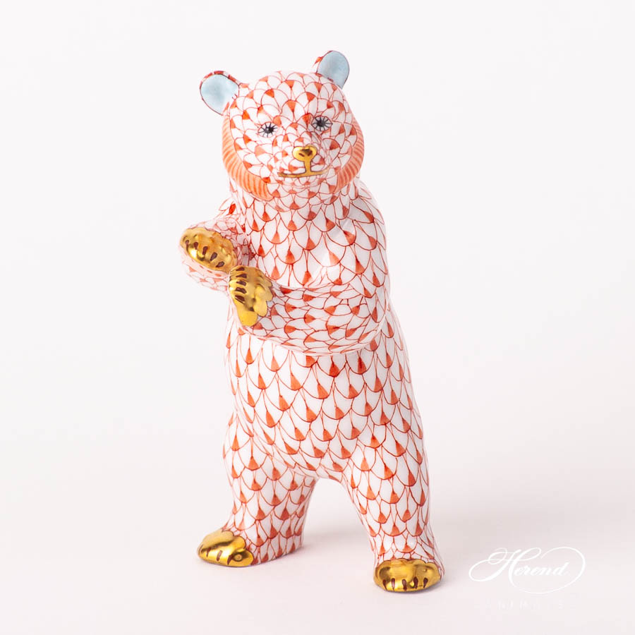 "Grizzly / Bear 15675-0-00 VHR Red Fish scale design. Herend Fine china animal figurine. Handpainted. Height 13 cm (5""H)."