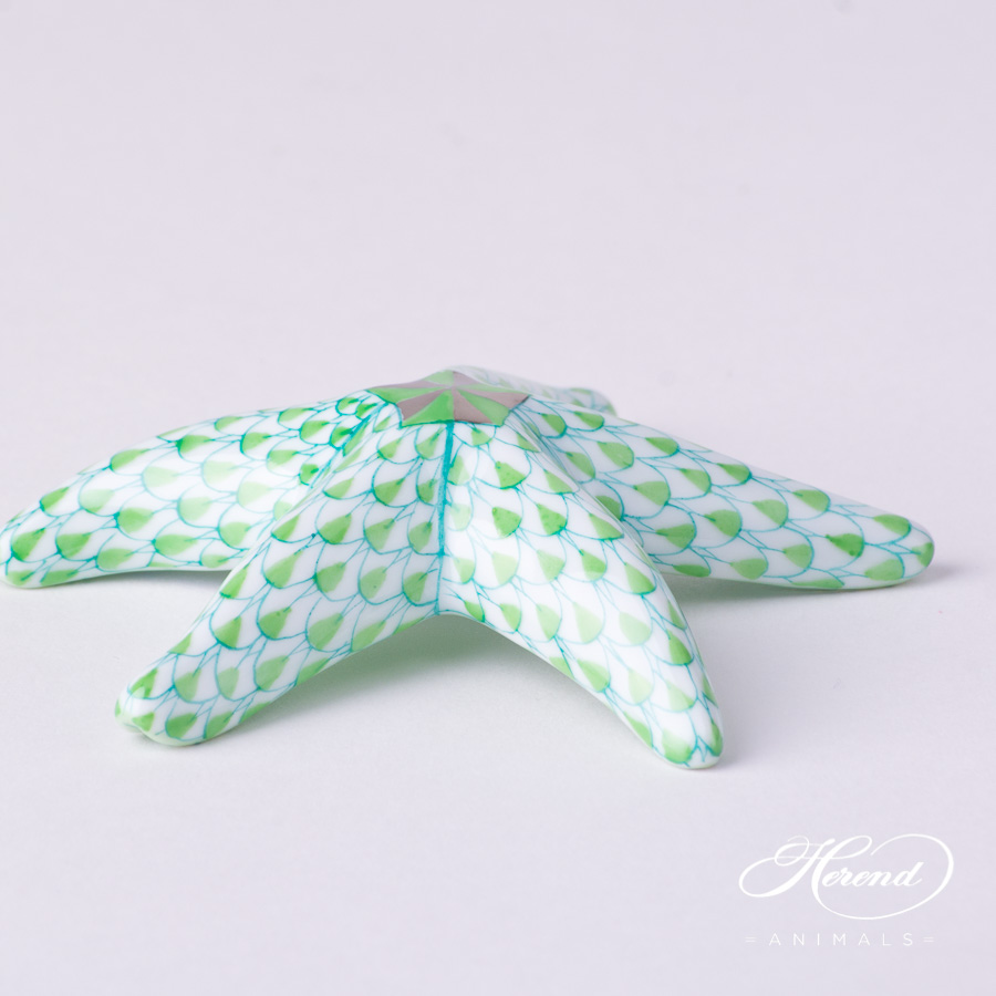 "Starfish 15815-0-00 VHV2 Light Green Fish scale decor. Herend Fine china animal figurine. Hand painted. Length 7.5 cm (3""L)"