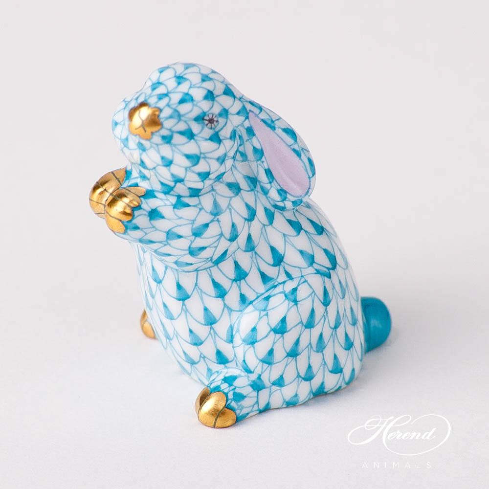 "Rabbit 15068-0-00 VHTQ Turquoise Fish scale design. Herend fine china animal figurine. Handpainted. Height: 5 cm (2""H)."