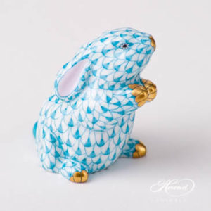 "Rabbit 15068-0-00 VHTQ Turquoise Fish scale design. Herend fine china animal figurine. Handpainted. Height: 5 cm (2""H)."