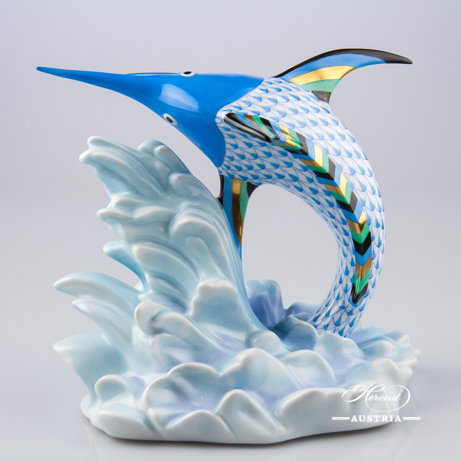 Swordfish 15378-0-00 VHB Blue - Herend Animal Figurine