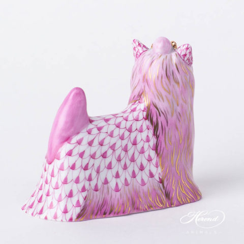 "Dog / Yorkshire Terrier 15873-0-00 VHP Purple Fish scale design. Herend fine china animal figurine. Handpainted. Length 8.5 cm (3.25""L)."