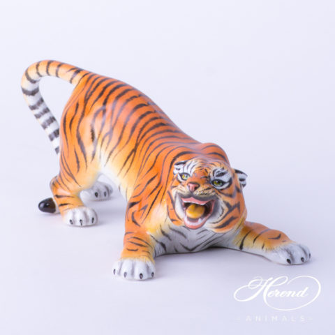 "Tiger 5086-0-00 MCD Naturalistic Matte surface decor. Herend Fine china animal figurine. Hand painted. Length: 23.0 cm (9""L)"