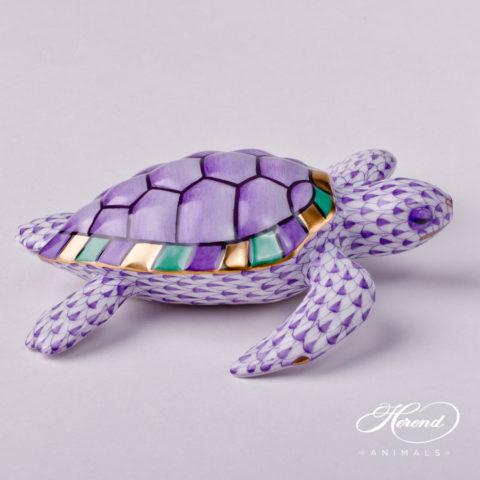 "Loggerhead Turtle 15460-0-00 VHL Lilac Fish scale decor. Herend Fine china animal figurine. Hand painted. Length: 11.0 cm (4.25""L)"