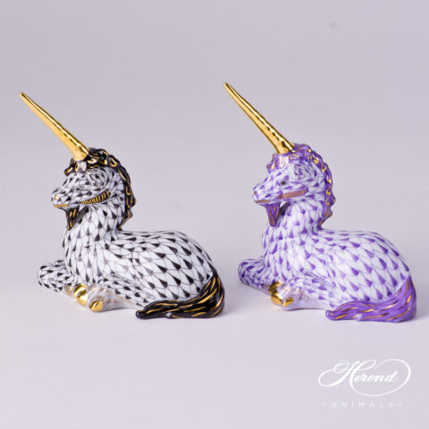 "Unicorn 15359-0-00 VHNM Black and VHL Lilac Fish scale decors. Herend fine china animal figurine. Hand painted. Length: 7.5 cm (3""L)"