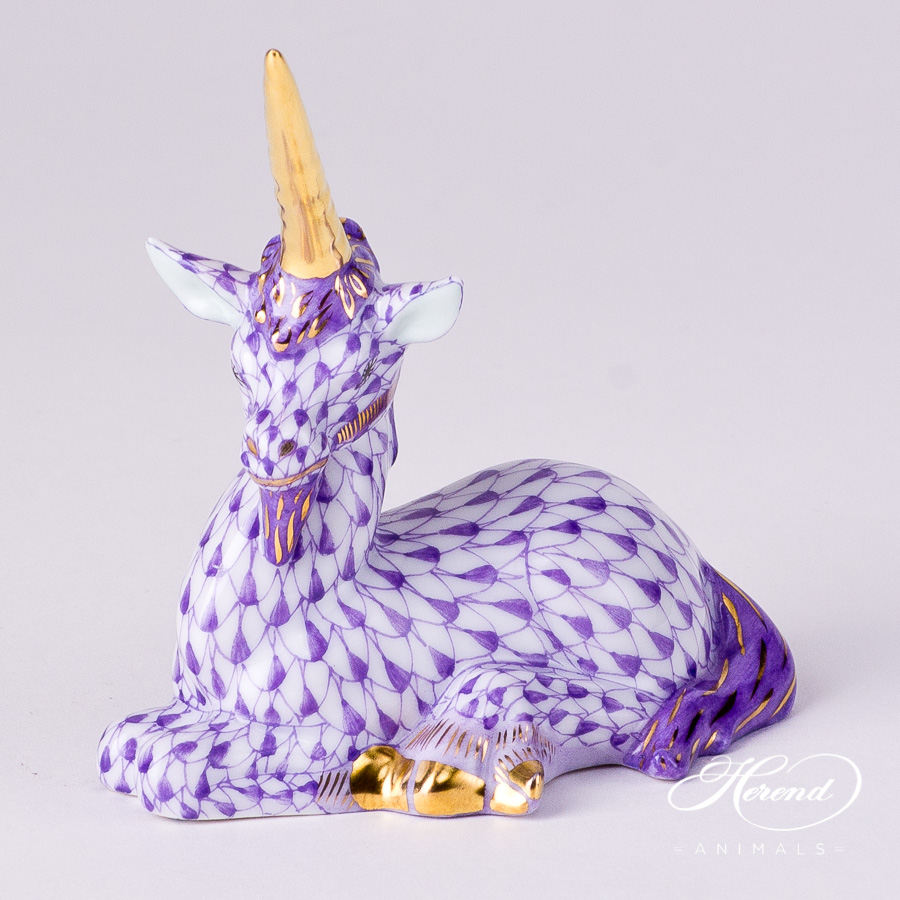 "Unicorn 15359-0-00 VHL Lilac Fish scale decor. Herend fine china animal figurine. Hand painted. Length: 7.5 cm (3""L)"