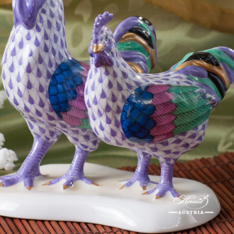 VH Herend Hen and Rooster lilac
