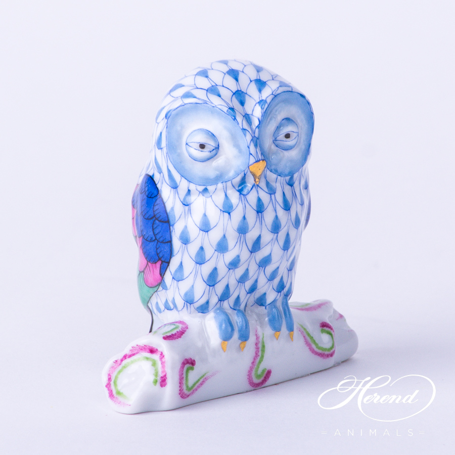 """Owl 15616-0-00 VHB Blue Fish scale decor. Herend Fine china animal figurine. Hand painted. Height 6.0 cm (2.5""""H)"""
