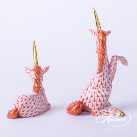 "Unicorn 15359-0-00 VHR Red Fish scale decor. Herend fine china animal figurine. Unicorn is a Mythical Animal. Hand painted. Height: 8.2 cm (3.25""H)"