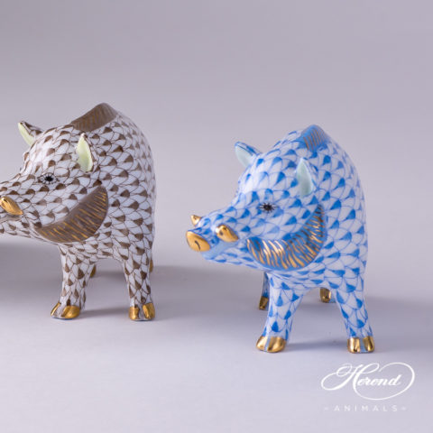 """Wild Boar Animal Figurine 15507-0-00 is available in  Brown and Blue Fish scale decors. Herend fine china animal figurine. Hand painted. Length: 9.0 cm (3.5""""L)"""