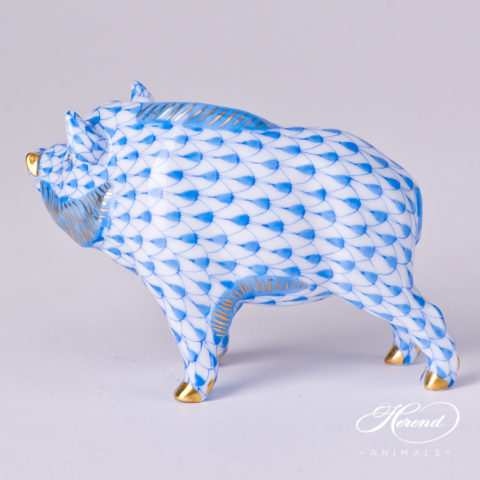 """Wild Boar 15507-0-00 VHB Blue Fish scale decor. Herend fine china animal figurine. Hand painted. Length: 9.0 cm (3.5""""L)"""
